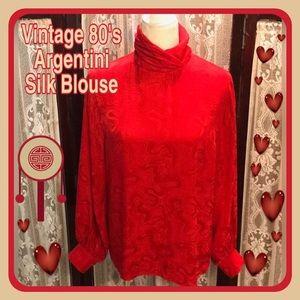 Argentini Red Silk Vintage Blouse
